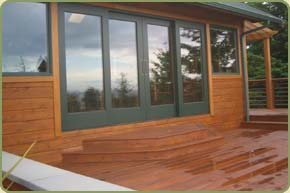 Ipe deck and western red cedar siding.