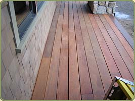 a porch with ipe decking