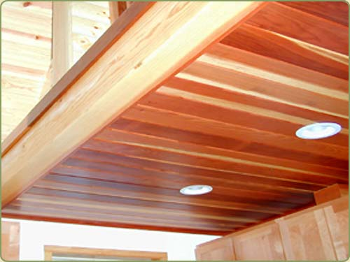 Picture of a  california redwood ceiling