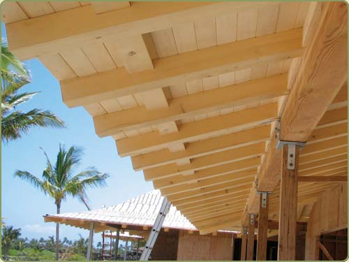 Image of alaskan yellow cedar rafters and soffit while under construction.