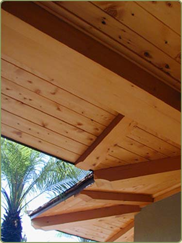 Image of alaskan yellow cedar rafters and soffit.