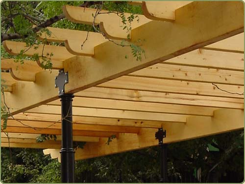 yellow cedar beams used in a NY park