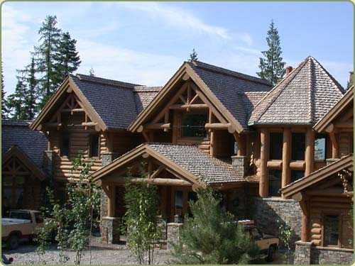 The bernstein home in whitefish, MT has fire treated roof shakes, also displayed are peeled logs