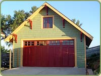 garage with red cedar stained shingles