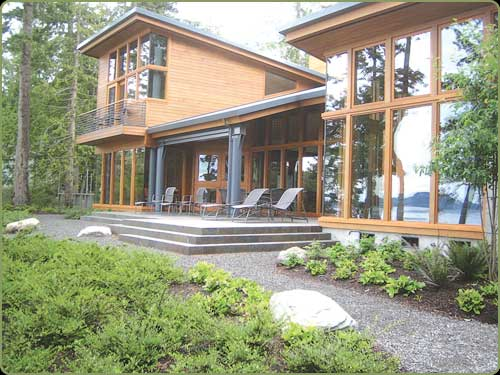 dan lowe project image: enrty way and western red cedar bevel siding