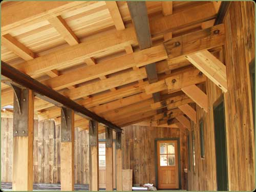 large view of the larch and fir soffits, red cedar beams also shown
