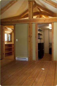Master Bedroom in a douiglas fir timberframe