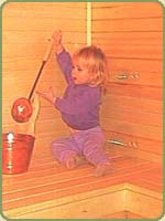 a picture of a little girl in the newly built sauna